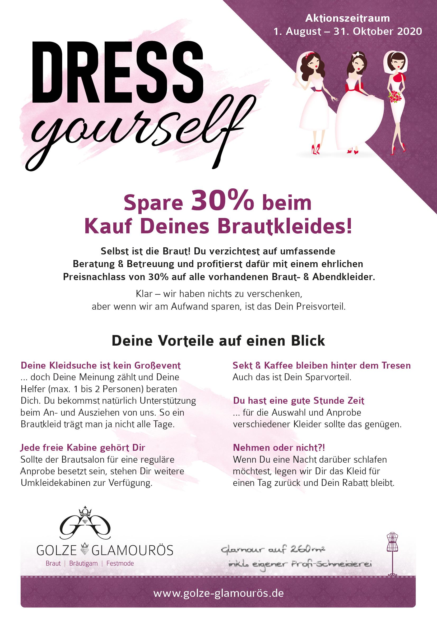 Dress yourself 30% Rabatt auf Brautkleid & Abendkleid der Braut