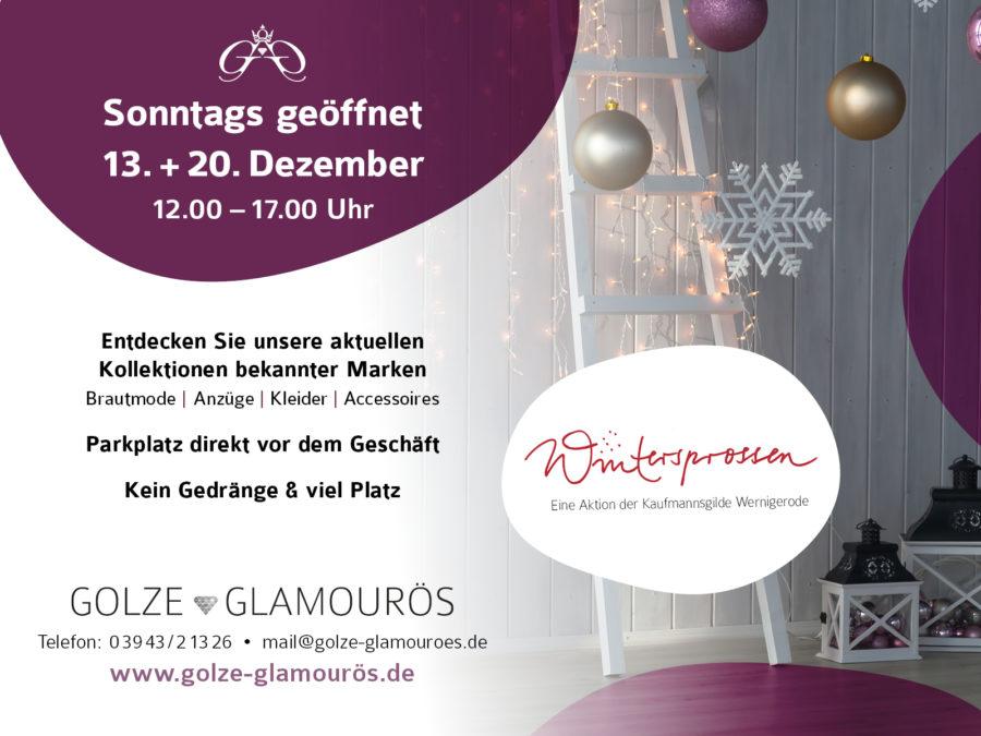 """Golze Glamouroes Sonntagsoeffnungszeiten im Dezember2020 1 Aktion """"Wintersprossen"""" - verkaufsoffene Sonntage im Advent"""