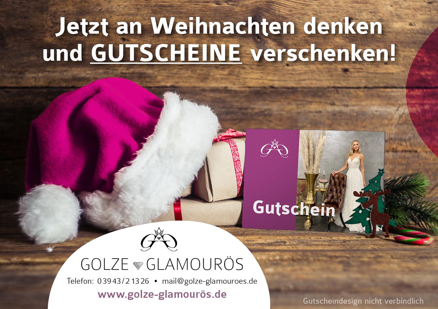 Golze Glamouroes Gutscheine zu Weihnachten DIN A4 Verschenken Sie Glamour & Style!